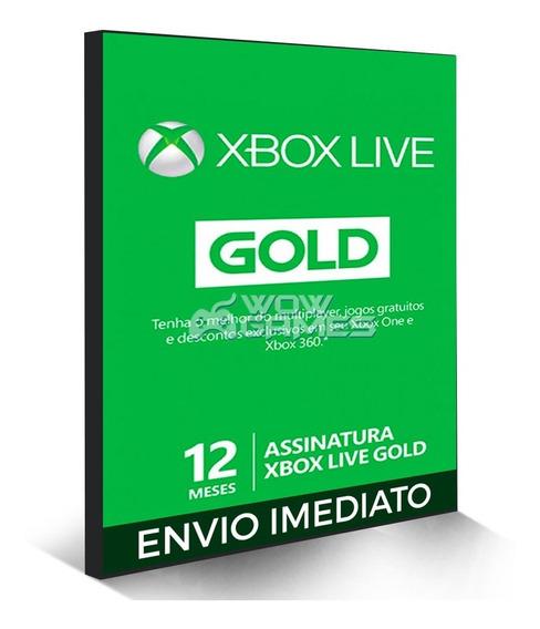 Xbox Live Gold Brasil Br Cartão 12 Meses Codigo 25 Digitos