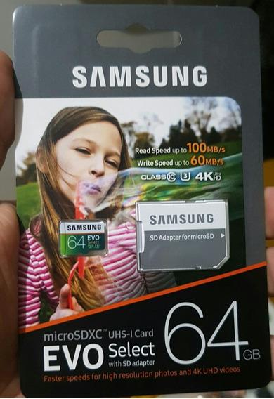 Micro Sdxc 64gb Samsung Evo Select3 Original E Lacrado