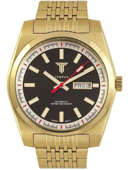 Relógio Masculino Tempus Yacht Zw30312u Gold Black