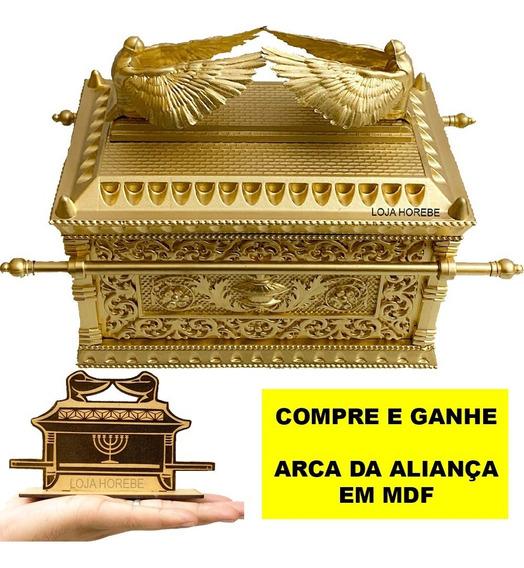 Arca Da Aliança Grane Dourada 30cm+ Brinde De Mesa