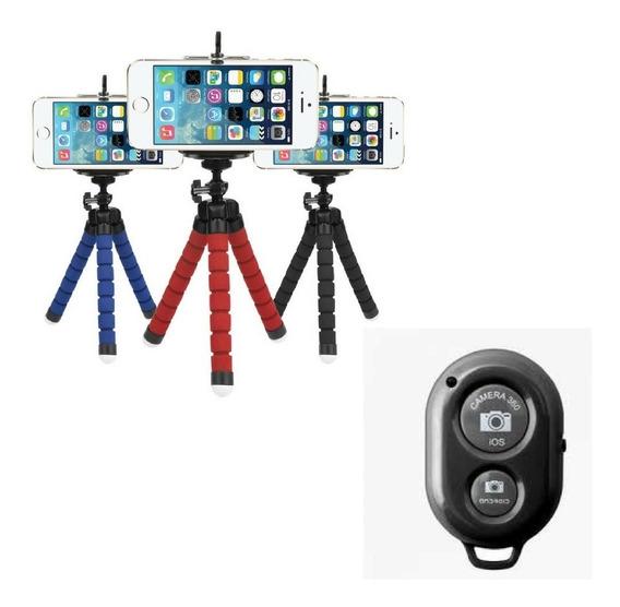 Tripé Flexível Articulado Suporte Celular Controle Bluetooth