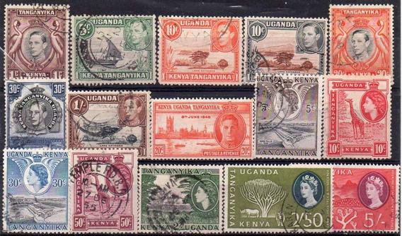 K U T 1937/60. Lote Con 15 Sellos Usados, Jorge Vi E Isabel