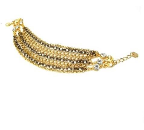 Pulseira Dourada E Ouro Velho Com Pingentes De Strass 4857