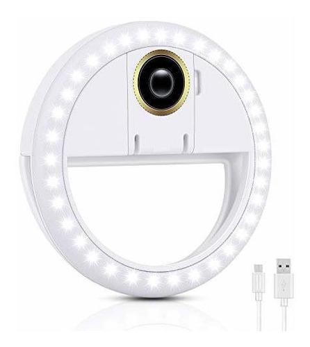 Imagen 1 de 5 de Anillo Luz Selfie Recargable Ajustable 3 Modos Iluminacion