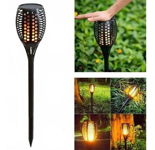 Antorcha Solar Led Efecto Fuego Exterior Jardin Fotocelula