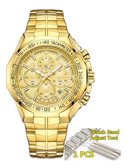 Relógio Wwoor Original Dourado De Luxo