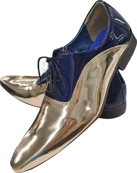 Sapato Masculino Italian- Couro Golden Verniz Oxford Ref:857