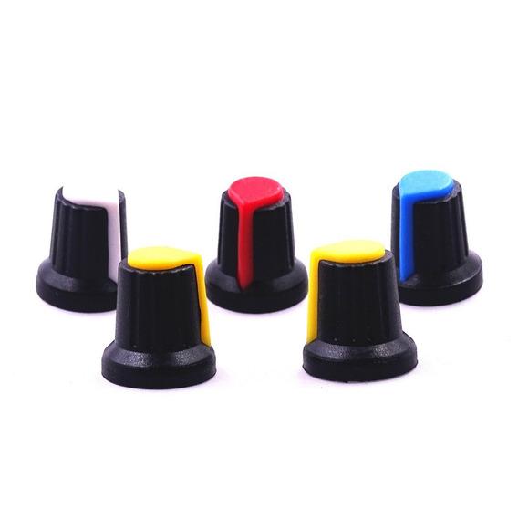 Knob 6mm Para Potenciômetro Estriado - 10 Unidades