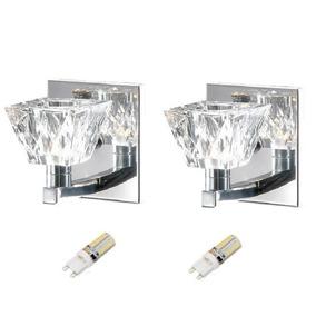 2 Arandela Cristal Espelho Lavabo Inox Quarto Alz5 + Led 3w