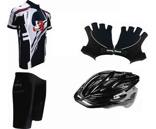 Conjunto Roud Camisa+bermuda+luva+capacete