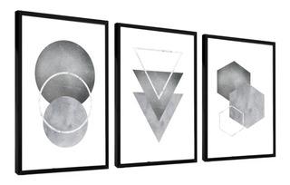 Quadro Decorativo Abstrato Tons Cinza Neutro Sala Quarto