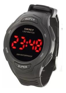 Reloj Ornet Hombre Digital Luz Led Rojo W30m Gtia Oficial