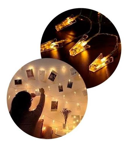 Guirnalda Calida Luz Led Broches A Pilas Luces Decoración
