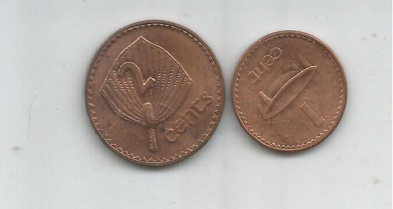M 12606 Fiji Lote De 2 Monedas 1 Y 2 Centavos