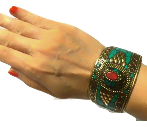 Bracelete Indiano Bronze Pedras Boho