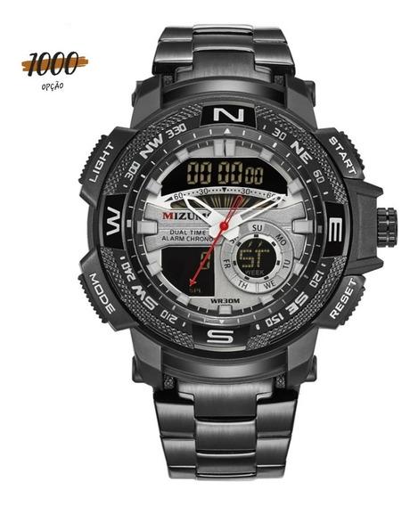 Promoção Relógio Mizums Original Fundo Preto A Prova D