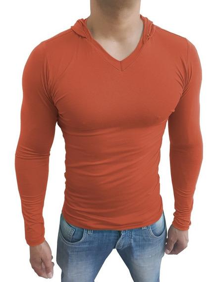 Camiseta Masculina Slim Com Capuz Gola V Manga Comprida