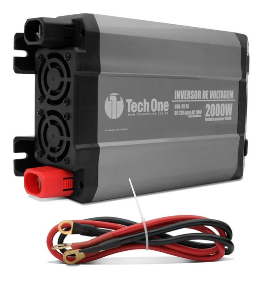 Inversor Tech One 2000w 12v Para 110v Com Usb Transformador