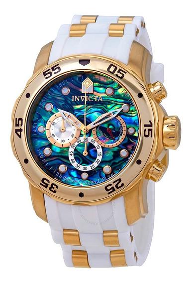 Relógio Masculino Invicta Pro Diver 24840 Banhado Ouro 18k Original Nota Fiscal Garantia Pulseira Branca Pronta Entrega