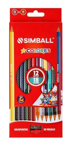 Lapices De Color Simball X 12 Largos 18 Colores + Sacap Full