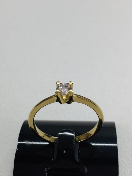 Anel Ouro18k Solitario Noivado Debutante Brilhante Garantia