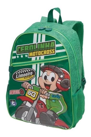 Kit Mochila Costas + Estojo D Cebolinha Super Moto Pacific