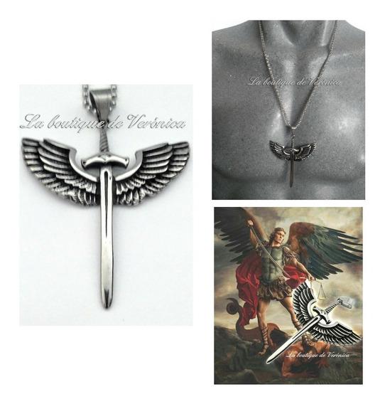 Dije Espada San Miguel Arcangel Grande Acero Inoxidable