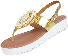 Sandália Com Aplicações Ouro - Aproveite Já