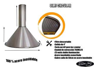 Campana De Cocina Extractor 60 Cm Acero Con Motor C/luz Led