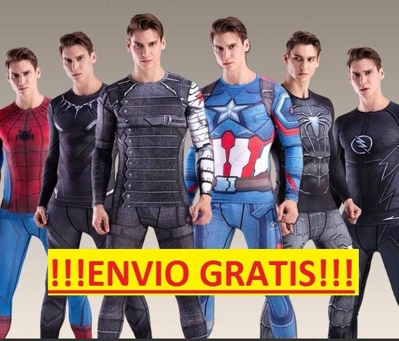 Lote 3 Traje Spiderman Flash Marvel Dc Comics Superheroe