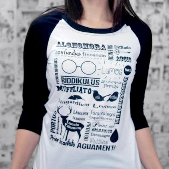 Camiseta Feminina Raglan Feitiços Magias Harry Potter
