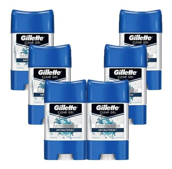Kit 6 Desodorantes Gillette Clear Gel Antibacterial 82g