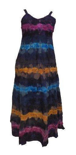 Vestido Feminino Longo Algodão Alça Tie Dye -cod. 855