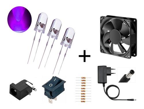 Imagem 1 de 9 de Kit 12 Led 5mm Ultravioleta+resistor+fonte +fan+conectores