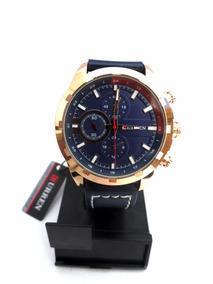 Relógio De Pulso Curren 8216 Masculino Azul E Dourado
