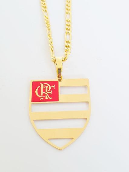 Corrente Cordão Pingente Flamengo 60 Cm Banhado Ouro C19p716