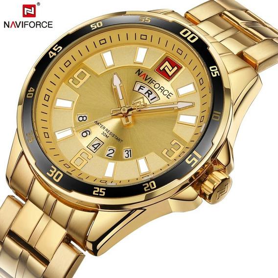 Relógio Dourado Naviforce Masculino De Pulso Data Ouro