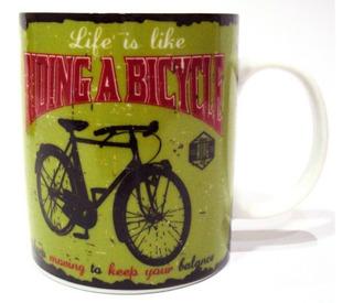 Caneca Bike To Work Ride Verde 320ml De Porcelana Dm Brasil