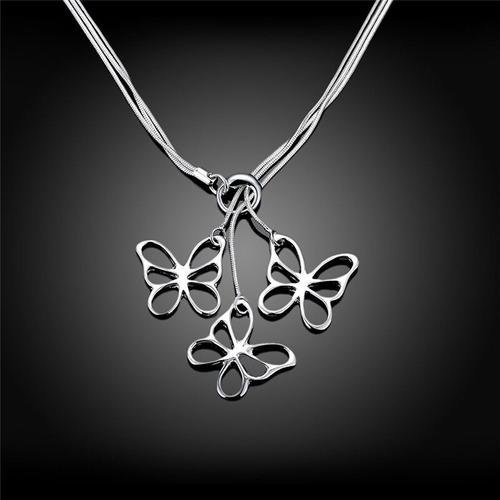 Collar Tres Cadenas De Serpientes Dije De Mariposas - Plata