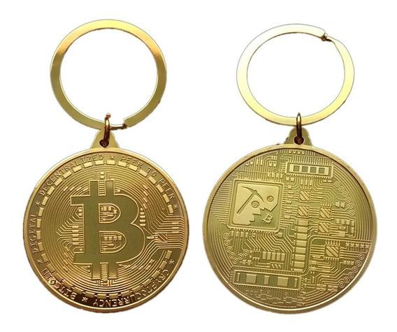 Chaveiro Bitcoin Dourado 4cm - Banhado A Ouro