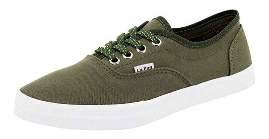 Tenis Casual Niña Lona 90319dtt Liso Verde Moda Textil