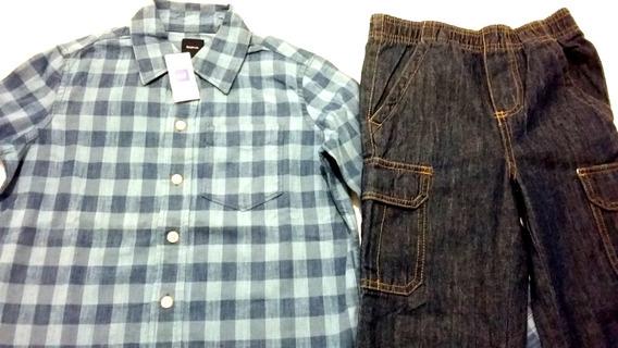Conjunto 5 Años Camisa Gap Y Jeans Osh Kosh 100% Nuevos