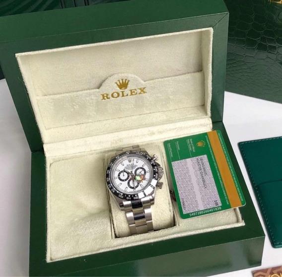 Rolex Daytona Prata E Branco Com Caixa E Documentos
