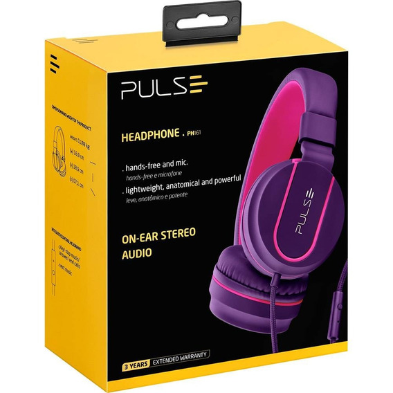 Fone De Ouvido Pulse Fun Bluetooth Series Roxo E Rosa Ph217