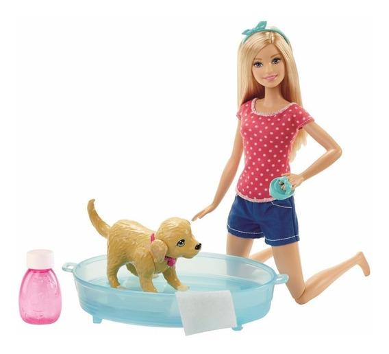 Brinquedo Boneca Barbie Família Filhotinho No Banho Dgy83
