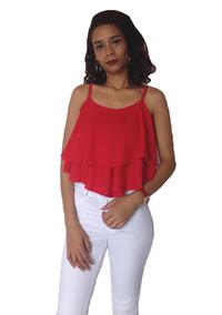 401a277b82 Blusa Cropped Ciganinha Feminina Viscose Moda - Vermelho