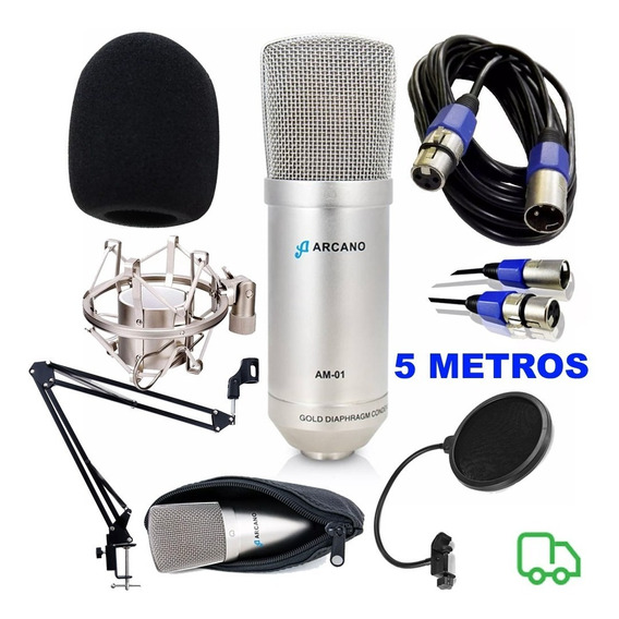 Microfone Arcano Am-01 Braço Pop Filter Aranha Outros
