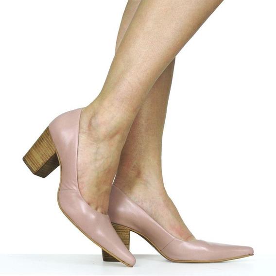Sapato Bico Fino Salto Grosso Dina Mirtz | Couro Anilina