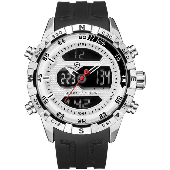 Prata Concha Preto Cinta Led Duplo Exibição Quartz Relógio C