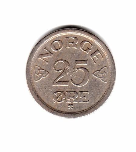 Noruega Moneda 25 Ore Año 1957 Km#401
